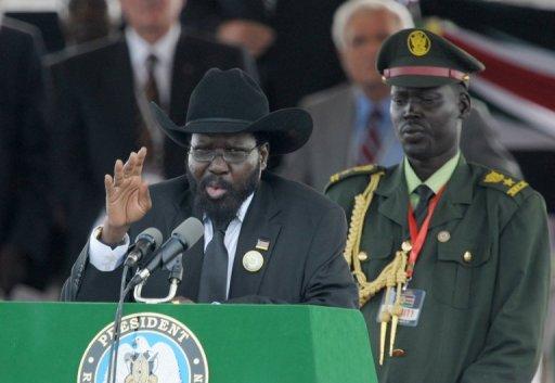 Le président du Soudan du Sud Salva Kiir le 9 juillet 2011à Juba AFP Phil Moore