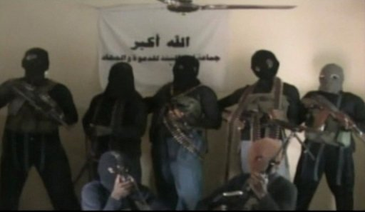 Video fournie le 21 octobre 2010 par la secte Boko Haram montrant 7 membres de la secte dans un endroi non identifié AFP/Archives