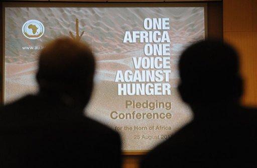 Des participants à la conférence pour aider la Corne de l'Afrique touchée par la sécheresse le 25 août 2011 à Addis Abeba AFP Simon Maina