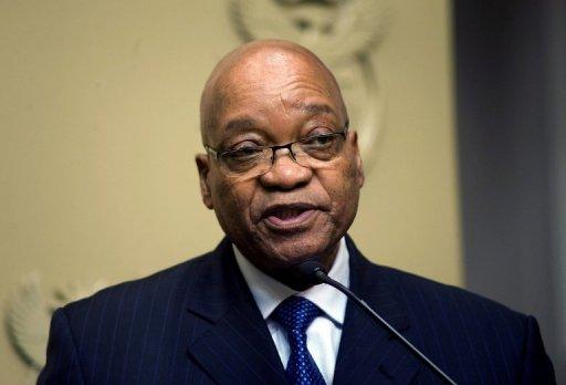 Le président sud-africain Jacob Zuma  s'exprime lors d'une conférence de presse le 23 août 2011 au Cap AFP/Archives Rodger Bosch