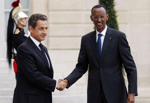 Les présidents français et rwandais Nicolas Sarkozy et Paul Kagame à l'Elysée le 12 septembre 2011 AFP Thomas Coex