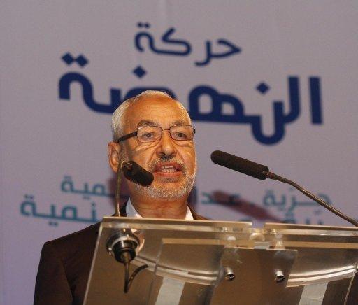 Rached Ghannouchi, fondateur du parti Ennahda, présente son programme, le 14 septembre 2011 à Tunis AFP/Archives Salah Habibi