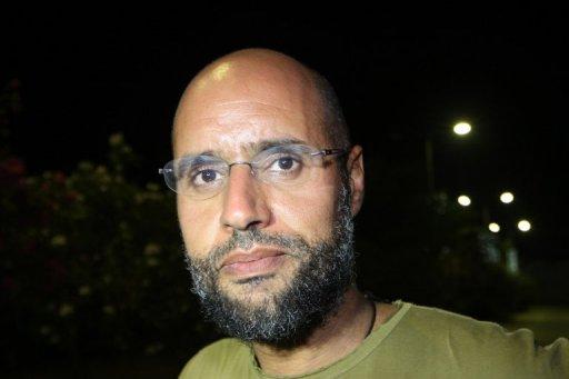 Saïf al-Islam, le fils de Mouammar Kadhafi le 23 août 2011 à Tripoli AFP/Archives Imed Lamloum