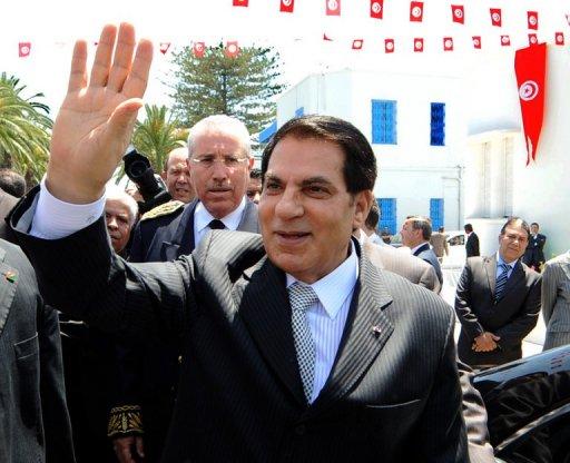 Zine El Abidine Ben Ali, alors président tunisien, le 9 mai 2010 à Tunis AFP/Archives Fethi Belaid