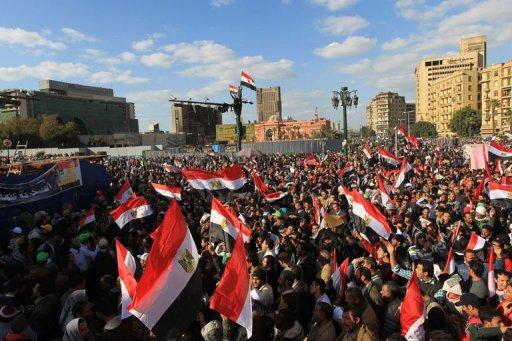 Des milliers de personnes manifestent place Tahrir au Caire, le 27 janvier 2012 AFP Khaled Desouki