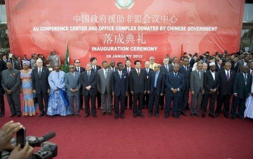 Photo de famille lors de l'inauguration du nouveau siège de l'Union Africaine, le 28 janvier 2012 à Addis Abeba AFP Tony Karumba
