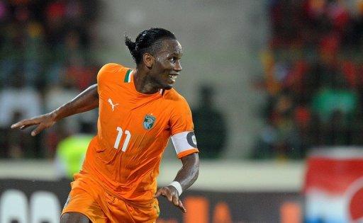 Didier Drogba, capitaine ivoirien, célèbre un but contre la Guinée Equatoriale en quart de finale de la CAN le 4 février 2012 à Malabo AFP Alexander Joe