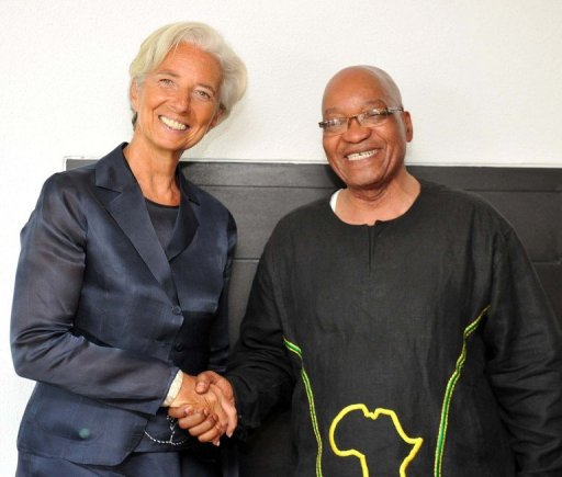 Le président sud-africain Jacob Zuma rencontre la directrice générale du FMI Christine Lagarde, le 7 janvier 2012 AFP/Archives Elmond Jiyane