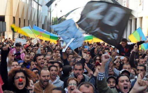 Marocains rassemblés par le mouvement du 20 février à Rabat le 19 février 2012 pour célébrer le premier anniversaire du Printemps arabe AFP Abdelhak Senna