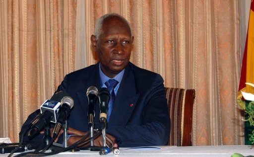 Le secrétaire général de la Francophonie et ancien président sénégalais Abdou Diouf le 6 janvier 2012 à Conakry AFP/Archives Cellou Binali