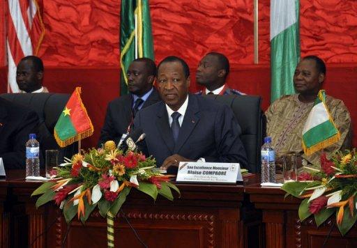 Le président du Burkina Faso, Blaise Compaoré pendant le sommet des pays d'Afrique de l'Ouest sur le Mali, à OUagadougou le 7 juillet 2012 AFP Ahmed Ouoba