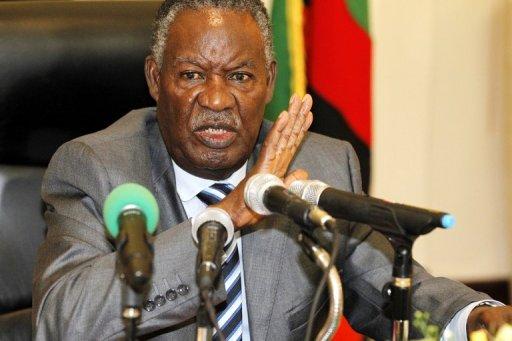 Le président Michael Sata s'adressant à la presse le 30 avril 2012 à Lusaka, en Zambie AFP/Archives Joseph Mwenda