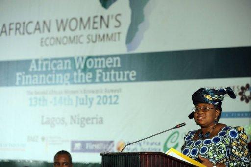 La ministre nigériane des Finances, Ngozi Okonjo-Iweala, lors du Sommet africain des femmes africaines le 13 juillet 2012 à Lagos AFP Pius Utomi Ekpei