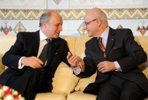 Le ministre français des Affaires étrangères Laurent Fabius (g) et son homologue algérien Mourad Medelci (d) le 15 juillet 2012 à Alger AFP Farouk Batiche