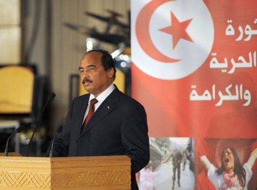 Le président de Mauritanie, Mohamed Ould Abdel Aziz, le 14 janvier 2012 à Tunis AFP/Archives Fethi Belaid
