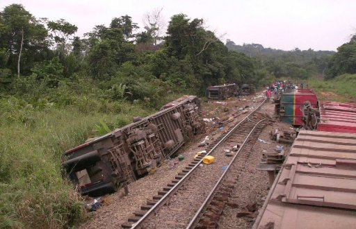 Un accident de train survenu en juin 2010 en République du Congo AFP/Archives