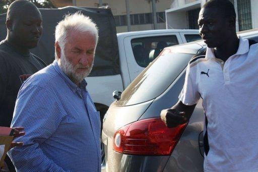 Loik Le Floch-Prigent à son arrivée le 17 septembre 2012 au tribunal à Lomé AFP/Archives Emile Kouton