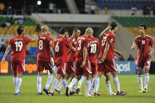 La sélection marocaine lors d'un match de la CAN-2012 face au Niger, le 31 janvier à Libreville. AFP/Archives Issouf Sanogo