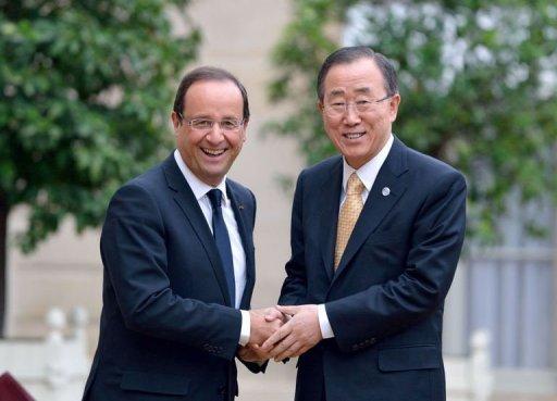 Le secrétaire général des Nations unies, Ban Ki-moon, et le président François Hollande, le 9 octobre 2012 à l'Elysée, à Paris AFP Eric Feferberg