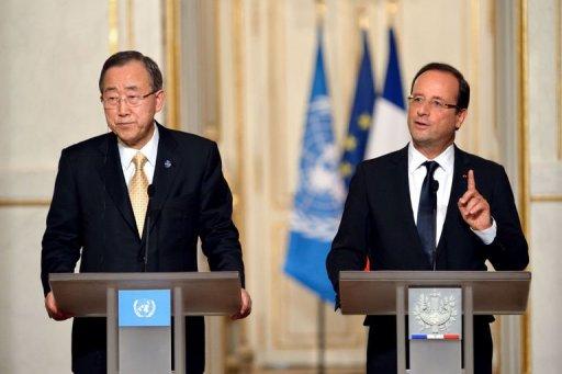 Le président François Hollande et le secrétaire général des Nations unies Ban Ki-moon le 9 octobre 2012 à Paris AFP Eric Feferberg