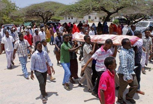 Obsèques le 21 septembre 2012 du journaliste somalien Abdisatar Dahir tué à Mogadiscio AFP/Archives Mohamed Abdiwahab