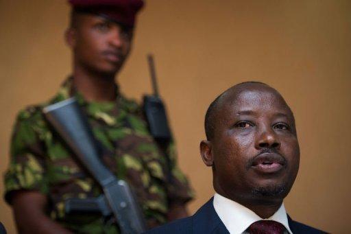 Le président du M23, Jean-Marie Runiga, le 27 novembre 2012 lors d'une conférence de presse à Goma, en RDC AFP Phil Moore