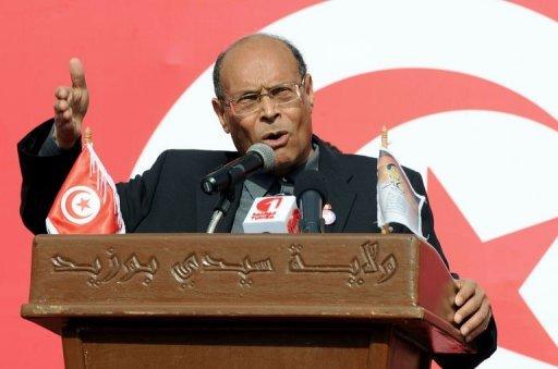 Le président tunisien, Moncef Marzouki, fait un discours le 17 décembre 2012, à Sidi Bouzid AFP Fethi Belaid