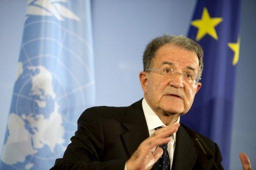 L'envoyé spécial du secrétaire général de l'ONU pour le Sahel, Romano Prodi, en conférence de presse à Berlin, le 23 octobre 2012 AFP/Archives Odd Andersen