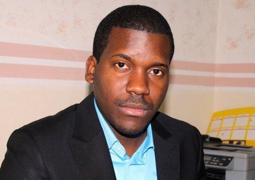 Vérone Mankou, le concepteur du premier smartphone africain, le 31 janvier 2012 dans ses bureaux à Brazzaville AFP/Archives Guy-Gervais Kitina