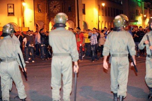 Des policiers marocains lors d'une manifestation AFP/Archives Abdelhak Senna