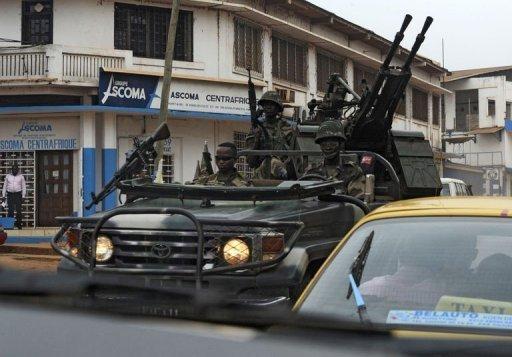 Des soldats patrouillent à Bangui, le 7 janvier 2013 AFP Sia Kambou