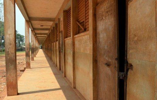 Une école fermée et désertée, le 11 janvier 2013 à Bangui AFP Patrick Fort