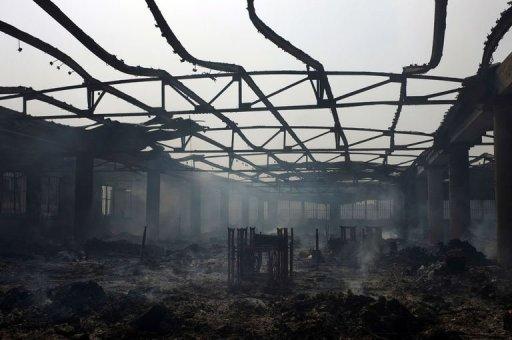 Le marché Adawlato de Lomé ravagé par un incendie, le 12 janvier 2013 AFP Daniel Hayduk