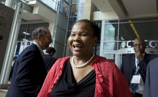 La ministre sud-africaine des Mines Susan Shabangu le 7 février 2012 au Cap AFP/Archives Rodger Bosch
