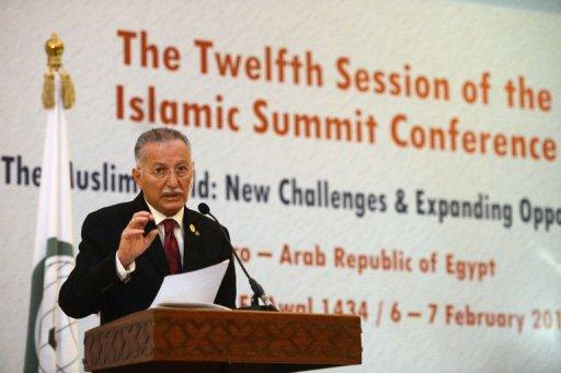 Le secrétaire général de l'OCI, Ekmeleddin Ihsanoglu, au Caire, le 7 février 2013 AFP Khaled Desouki