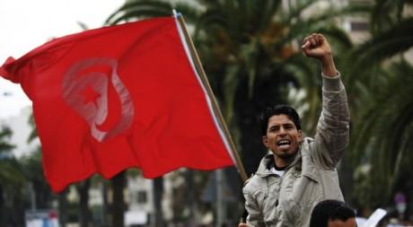 Un manifestant à Tunis, le 20 janvier 2011. REUTERS/Finbarr O'Reilly