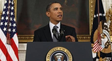Le président américain Barack Obama s'exprime sur la situation en Egypte à Washington, le 28 janvier 2011. REUTERS/Jim Young