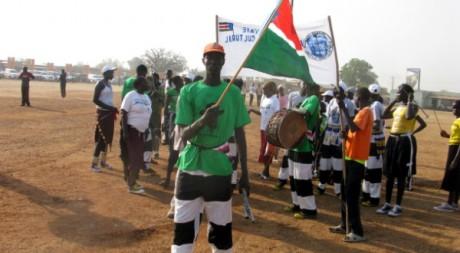 Drapeau, par Mathieu Galtier. Juba, le 30 janvier 2011. Tous droits réservés