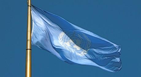Le drapeau de l'ONU, by Makaristos Wikimedia Commons