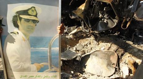 Le portrait de Kadhafi sur un site militaire bombardé par la coalition près de Tripoli, le 22 mars. Reuters/Zohra Bensemra