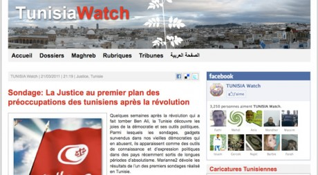 Capture d'écran du site Tunisia Watch, le 27 avril 2011.