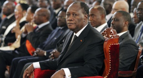 Alassane Ouattara à la cérémonie de prestation de serment, à Abidjan, le 6 mai 2011. REUTERS/Luc Gnago