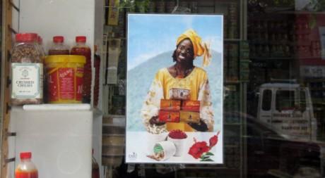 Vitrine d'un commerce dans Little Sénégal © Sabine Cessou, tous droits réservés.