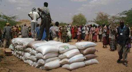 Un homme armé perché sur un tas de sacs d'aide alimentaire, Doloow, Somalie, 24 juillet 2011. AFP/Peter Martell