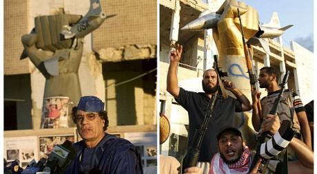 Montage photos à Bab al Azizia: Mouammar Kadhafi le 5 février 2001 et les rebelles le 23 août 2011. REUTERS/Reuters Staff