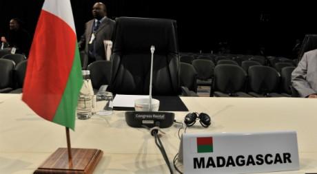 Le siège vide de Madagascar à la SADC, Johannesburg, 12 juin 2011. AFP PHOTOS/ALEXANDER JOE