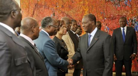 Alassane Ouattara reçoit une délégation du FPI à Abidjan, le 29 septembre 2011. AFP PHOTO / SIA KAMBOU