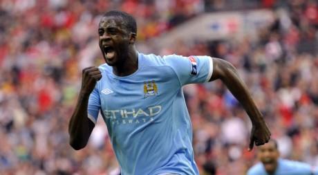 Yaya Touré célèbre son but qui offre la victoire à Manchester City en finale de FA Cup. REUTERS/Toby Melville