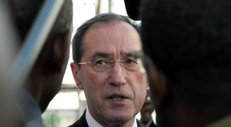 Visite de Claude Guéant en Guadeloupe le 14 février 2012. AFP/JEAN-MICHEL ANDRE