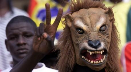 Supporter dans un stade de foot, le 28 janvier 2002.  REUTERS/Juda Ngwenya